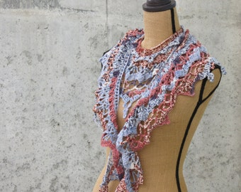 Wool Lace Fringed Bohemian Shawlette, Shawl, Neck Wrap, Curly Ends, Printed Yarn, Southwestern Style in Blue and Brick