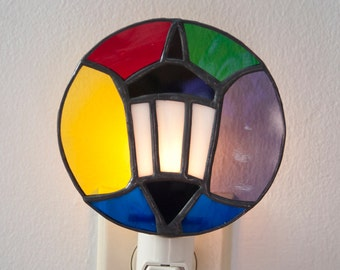 Stained glass Wellesley College lamp night light