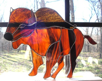 LT Stained glass Buffalo Bison Bull suncatcher American bison American buffalo light catcher made with different types of brown glass 11 x 8
