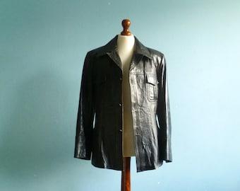 Vintage black leather jacket / mens jacket coat outwear / buttoned / lined / medium