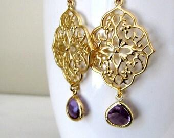 Gold Earrings Filigree Earrings Lace Earrings Purple Earrings Delicate Lacey Earrings Bridesmaids Earrings Every Day Earrings Feminine