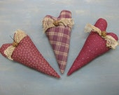 Primitive Valentine's Day Heart Bowl Fillers - Set of 3 - Maroon Homespun & Calico Grungy Fabrics - Wedding - Anniversary - Heart Home Decor