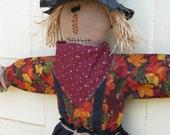 Hanging Primitive Scarecrow Doll - Ready 2 Ship -Door Greeter - Fabric - Fall Door Hanger - Autumn Decor  - Primitive Scarecrow Wall Hanging