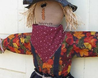 Hanging Primitive Scarecrow Doll -Door Greeter - Fabric - Fall Door Hanger - Autumn Decor  - Primitive Scarecrow Wall Hanging