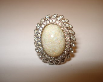 Vintage PANETTA Signed Opal Sterling Cocktail Ring 1960s Size 3.75
