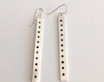 Large enamel earrings - Sterling silver earrings - Rectangle silver earrings transparent enamel