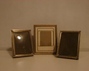 Vintage Gold Metal Picture Frames // Convex Glass // Display Frame // Pair of Frames
