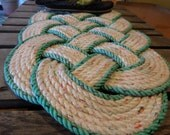 """30"""" x 15"""" Knotted Rope Rug White with Red Speckles and Green Accent Border Doormat Recycled Rope 100% Eco Friendly Re-purposed"""
