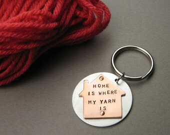 Knitter Keychain for House Keys  - Home Is Where My Yarn Is - Funny Knitting Gift