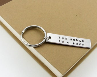 Book Quote Keychain (The World Is A Book Travel Quotation)