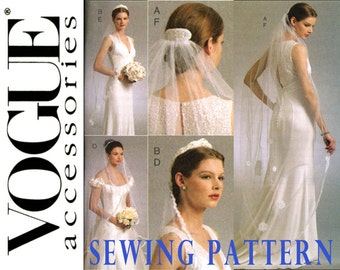 Bridal Veils Sewing Pattern Uncut Vogue V8569 Joanna Marie Lyon Fingertip Veil, Blusher, Headpiece, Fascinator, Tiara, Wedding Accessories