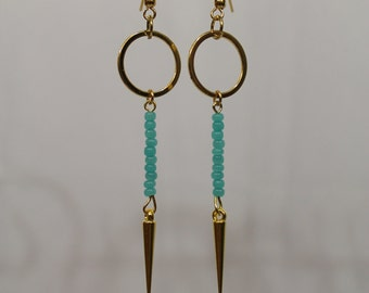 Gold and turquoise geometric spike earrings