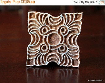 THANKSGIVING SALE Hand Carved Indian Wood Textile Stamp Block- Square Art Deco Design