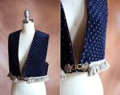vintage 1980's navy blue & brown quilted velvet cropped vest with fringe / size s - m