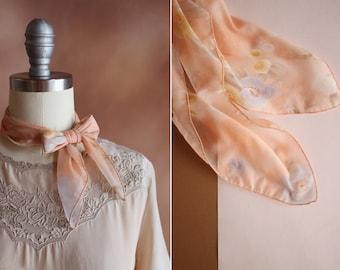 vintage 1970's sheer chiffon pale peach floral print neck tie head scarf kerchief
