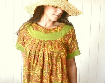 Hippie Caftan Dress 1960s Vintage Orange Green Pocket Tent Dress Midi Length Medium Large