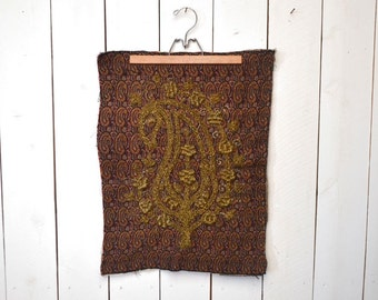 Tapestry Wall Hanging - 1960s Metal Chain Relief Embroidery - Vintage Home Decor