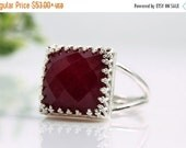 SUMMER SALE - silver ruby ring,square ruby gemstone ring,semi precious ring,sterling silver ring,bridal ring,July birthstone ring