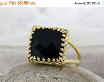 SUMMER SALE - square black ring,gold ring,black onyx ring,black diamond alternative,14k gold filled rings,natural stone ring