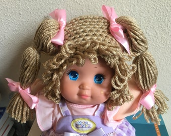 Cabbage Patch Kid Style Crocheted Medium Brown Wig Hat Halloween Costume for Baby Girls Size Newborn to 12 Months