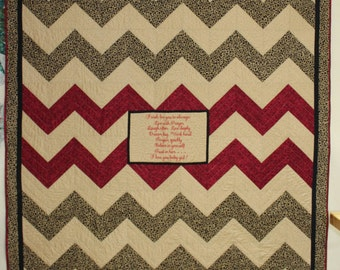 Lap Quilt--Chevron Design With Embroidered Message