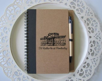 I'd Rather Be At Pemberley Journal- Jane Austen-Pride and Prejudice-  Blank book with matching attached pen, Earth friendly cover and pages
