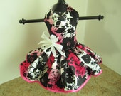 Dog Dress  XS Hot Pink with Black Flowers and Trim  By Nina's Couture Closet