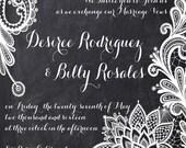 Lace Chalkboard Wedding Invitations, Chalkboard Wedding Invitation, Custom Wedding Invites, Custom Listing for desireerodriguez455