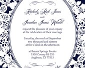 Navy Blue and Lace Wedding Invitations, Rustic Summer Wedding, Rush Custom Wedding Invitation Listing for kimiiams