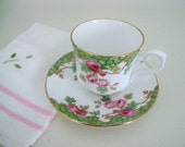 Vintage Tea Cup Saucer Set Pink Roses - Royal Stafford Bone China - Olde English Garden Green - Six Sets Available