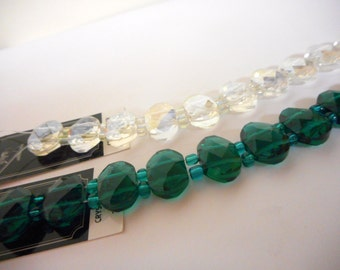 Crystal Double Hole Sliders ... full 7 inch strand ... 10x15mm ... as shown .... Teal or Crystal AB