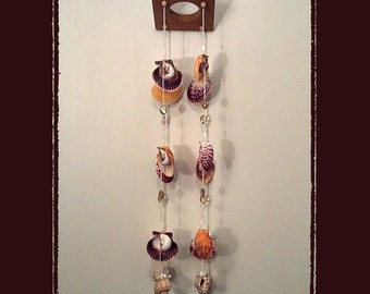 Sea Shell Wind Chime Suncatcher Brown Orange Calico Scallops, w/Crystals, Beads, Beach/Coastal/Nautical Decor, Patio/Yard/Garden Decor