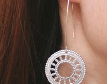 Boho Silver Disc Earrings. Disc Earrings.Statement Earrings.Round Earrings.Silver Dangle Earrings.Minimalist.Modern.Simple.Everyday Earrings