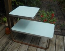 """Vintage Retro Teal Formica 2 Tier/Step End Table--Metal Legs--27"""" long-Royal Metal Manufacturing Company"""