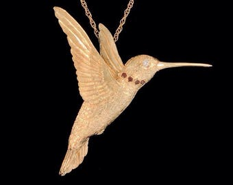 Solid 14k Yellow Gold Hummingbird Pendant and Brooch Combination with White and Red Diamond Accents (Optional Chain)