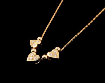 14k Yellow Gold and Diamond Triple Heart Beaded Necklace
