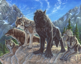 Werewolf Amongst a Pack of Wolves Print