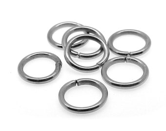 7mm Jump Rings : 100 Antique Silver Open Jump Rings 7mm x 1mm (19 Gauge) -- Lead, Nickel, & Cadmium free Jewelry Finding 7/1-2