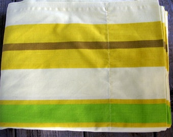 1970s Vintage Yellow, Green and Brown striped TWIN FLAT Sheet