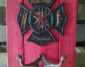 Honor Your Hero...Awesome Rustic Fireman Wall Piece....Cast Iron Badge and Hooks..Reclaimed Wood Panel