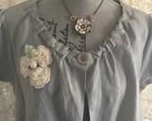 Shabby Chic Prairie LINEN Boho LAGENLOOK Embellished JACKET - SiZE Large - XLarge