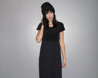 Velvet & Thermal Maxi Dress - Navy Blue Long Dress 90s Grunge Minimal VTG - Size M