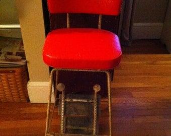 Cherry Red Vinyl Retro Kitchen 1940's step stool chair re bar