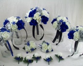 "Custom Listing for ""Lisa"" Royal Blue,Silver And Ivory Bridal Bouquets Silk Rose Wedding Package 19 pieces made to order ""VanCaronCollection"""