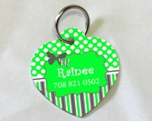 Custom Pet ID Tag - Butterfly - Lime Green - Heart - Aluminum