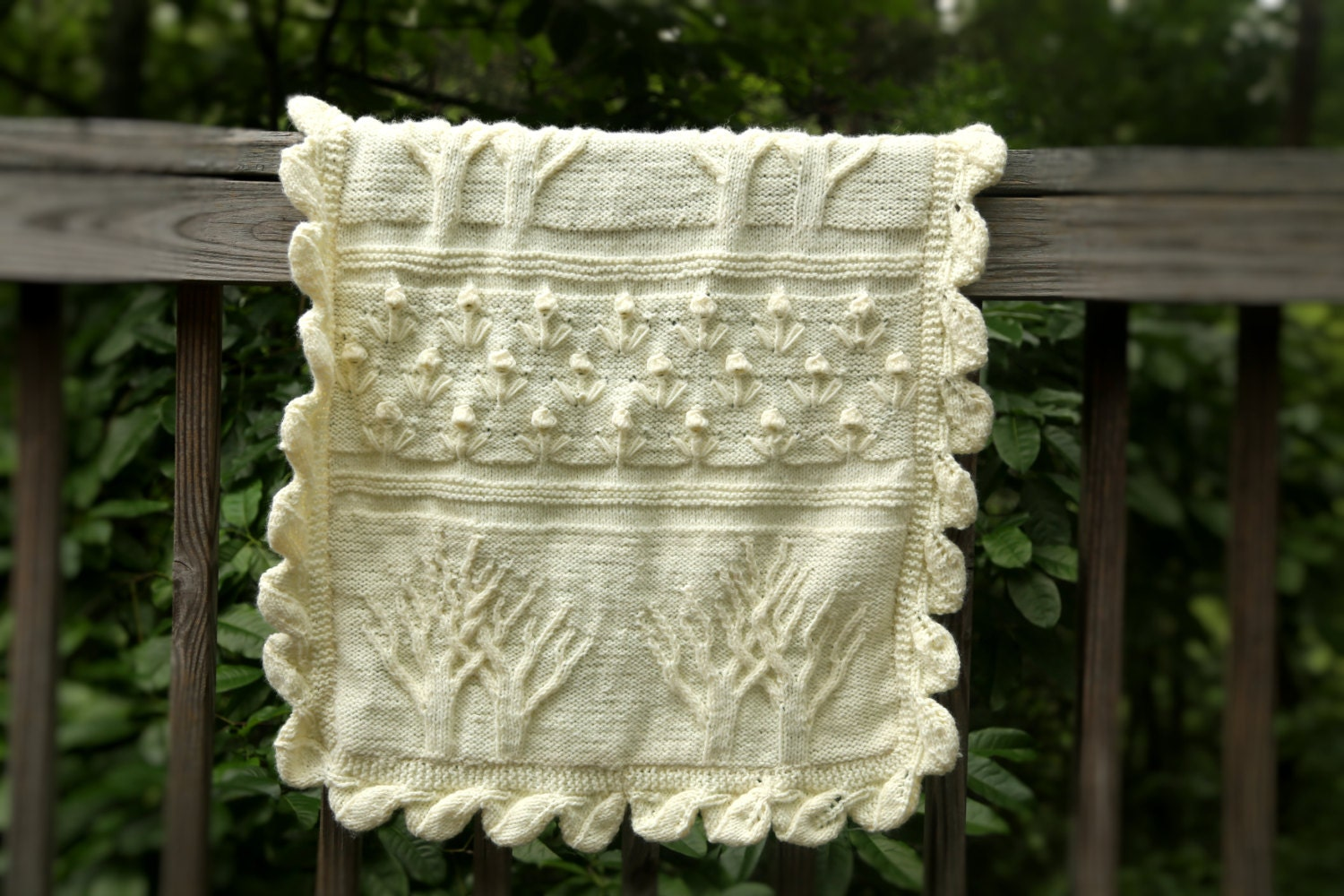 Hand Knitted Tree Of Life Cream Baby Blanket Car seat cover