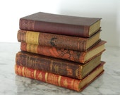 Shabby Antique Book Collection. Instant Library. Victorian. Shades of Crimson and Gold. Classic Literature.