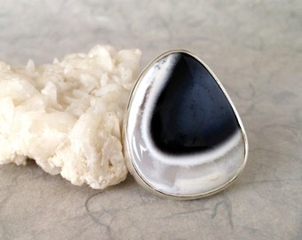 Ring, Silver, Merlinite, Dendritic Opal Cabochon , unique handmade gift, ready to ship