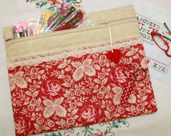 Vintage Red Roses Cross Stitch, Embroidery Project Bag