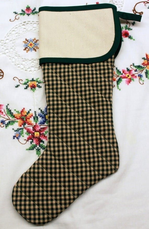 Primitive Green Homespun Stitchable Quilted Cross stitch Christmas Stocking